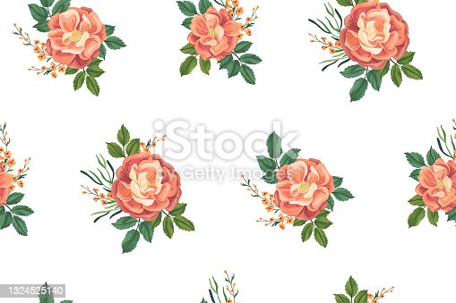 istock Seamless pattern with pink rose hips. Floral print, vector. 1324525140
