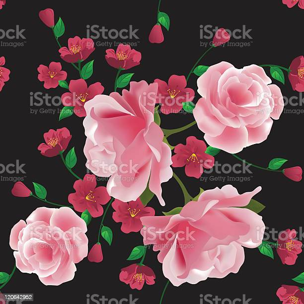 Seamless pattern with pink roses and flowers on black background vector id120642952?b=1&k=6&m=120642952&s=612x612&h=vrlavfwgprikwtx0nqy79nn8xaei lm0udr2a5oc5ba=