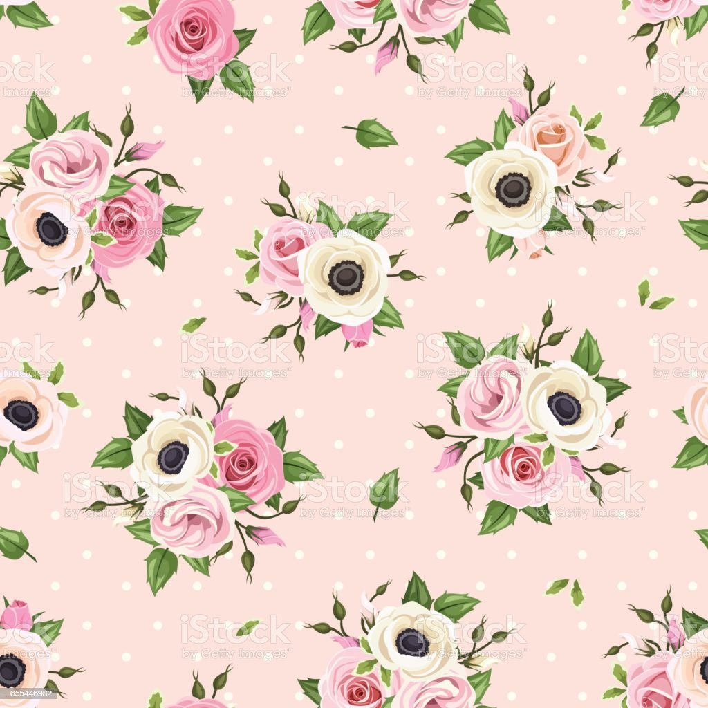 Seamless pattern with pink roses, lisianthus and anemone flowers. Vector illustration. vector art illustration
