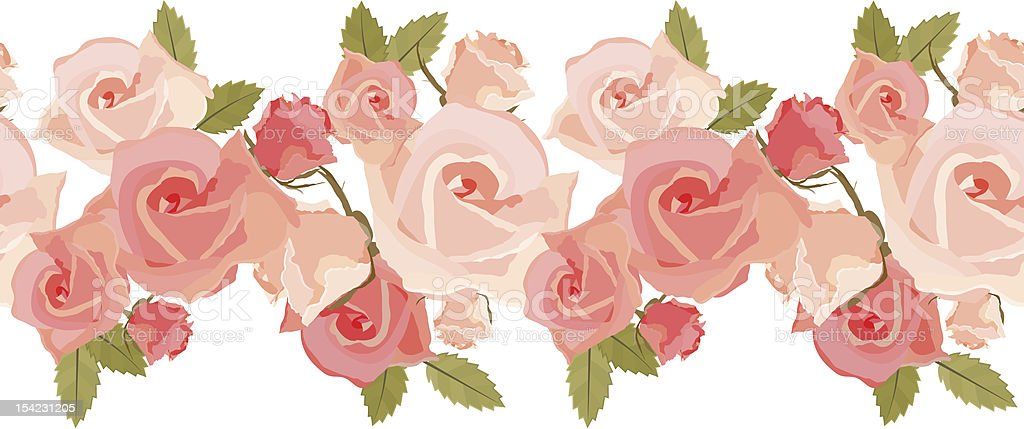 Seamless pattern with pink roses royalty-free stock vector art