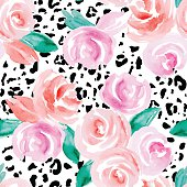 Seamless pattern with abstract watercolor flowers. Pink roses on a white background and spots on a leopard skin.