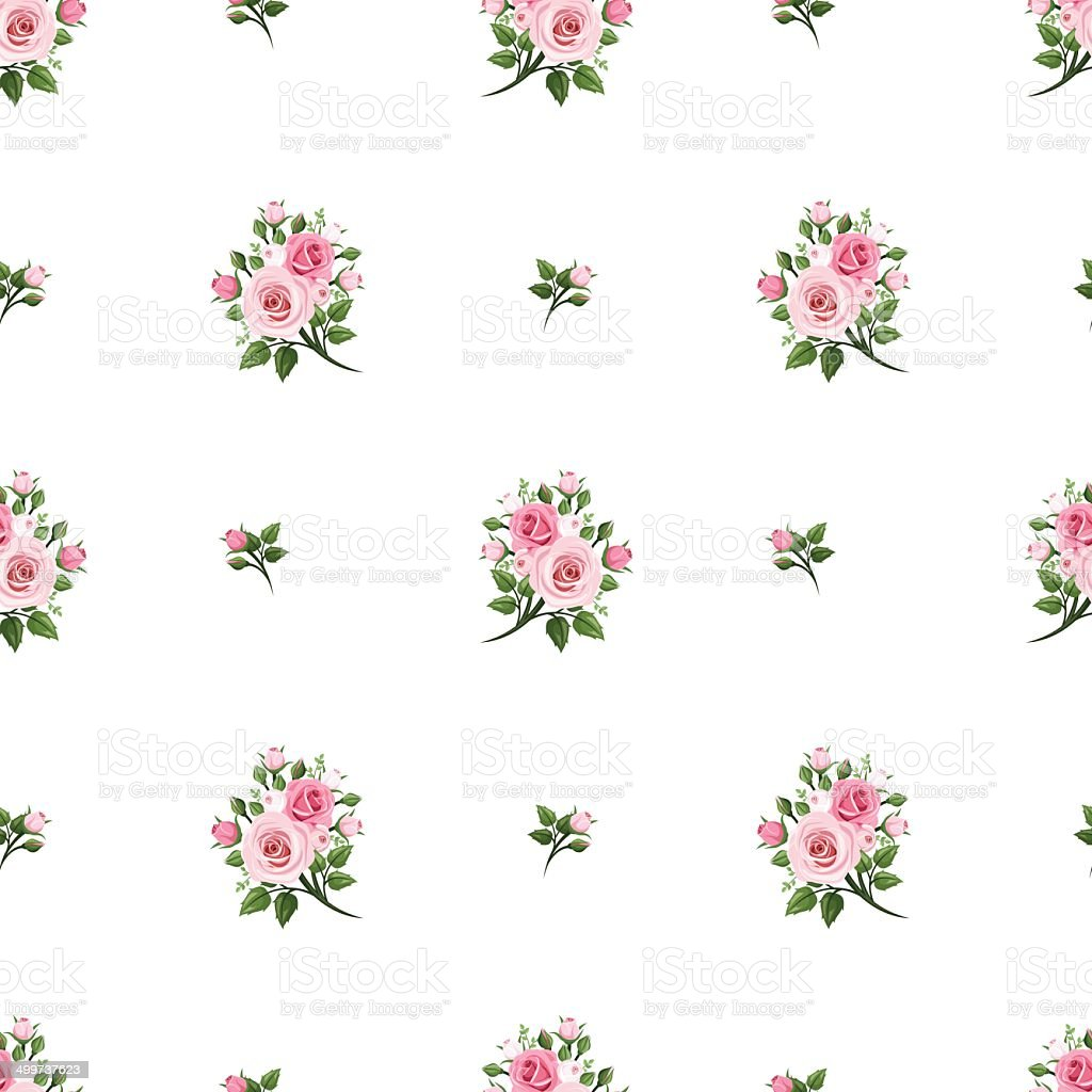 Seamless pattern with pink roses. Vector illustration. vector art illustration