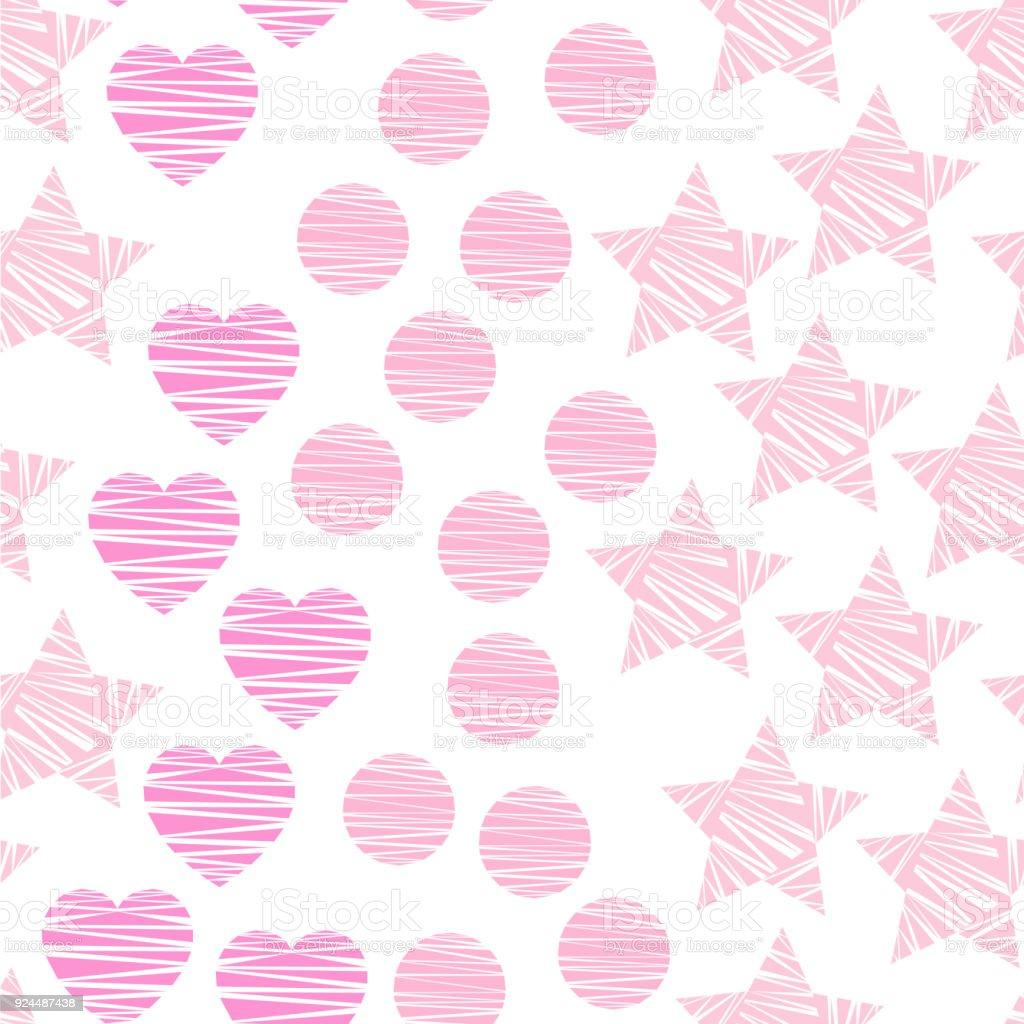 Ilustración De Patrón Transparente Con Rosa Estrellas Corazones