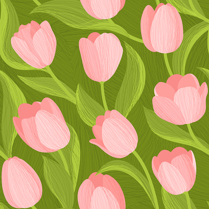 Seamless pattern with pink Tulips in abstract background. Spring flowers on a green background. Vector background for fabric, textile, wallpaper, posters, gift wrapping paper, napkins, tablecloths.