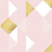 Seamless pattern with pink, white and golden rhombus. Abstract vector illustration