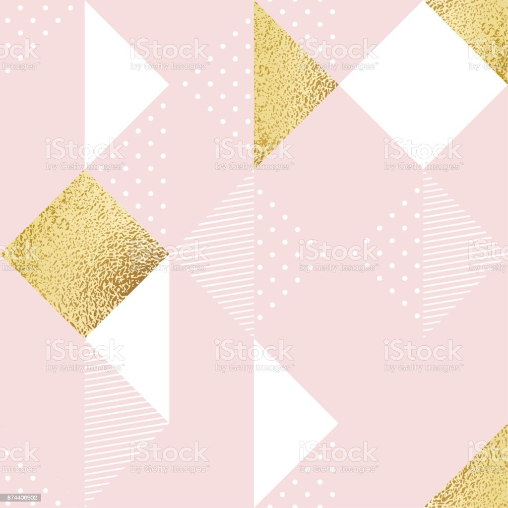 Seamless pattern with pink, white and golden rhombus. vector art illustration