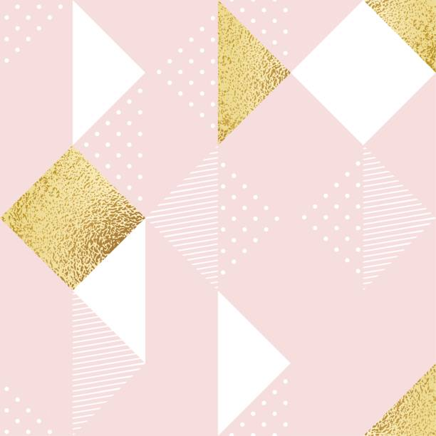 seamless pattern with pink, white and golden rhombus. - pastel colored stock illustrations, clip art, cartoons, & icons