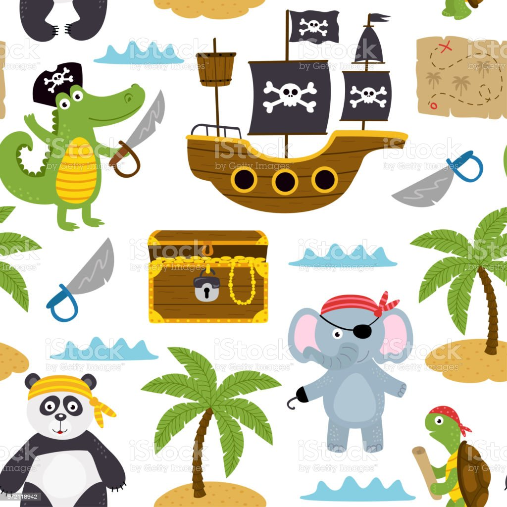 seamless pattern with pirates animals and other elements on white background vector art illustration
