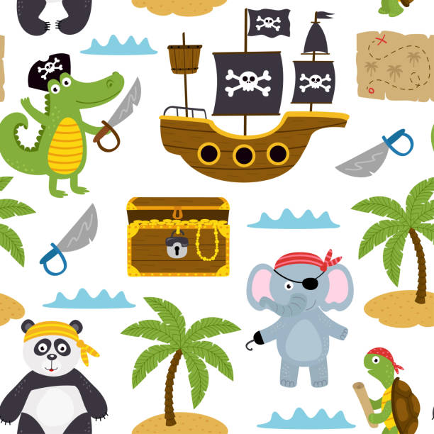 seamless pattern with pirates animals and other elements on white background - treasure map backgrounds stock illustrations