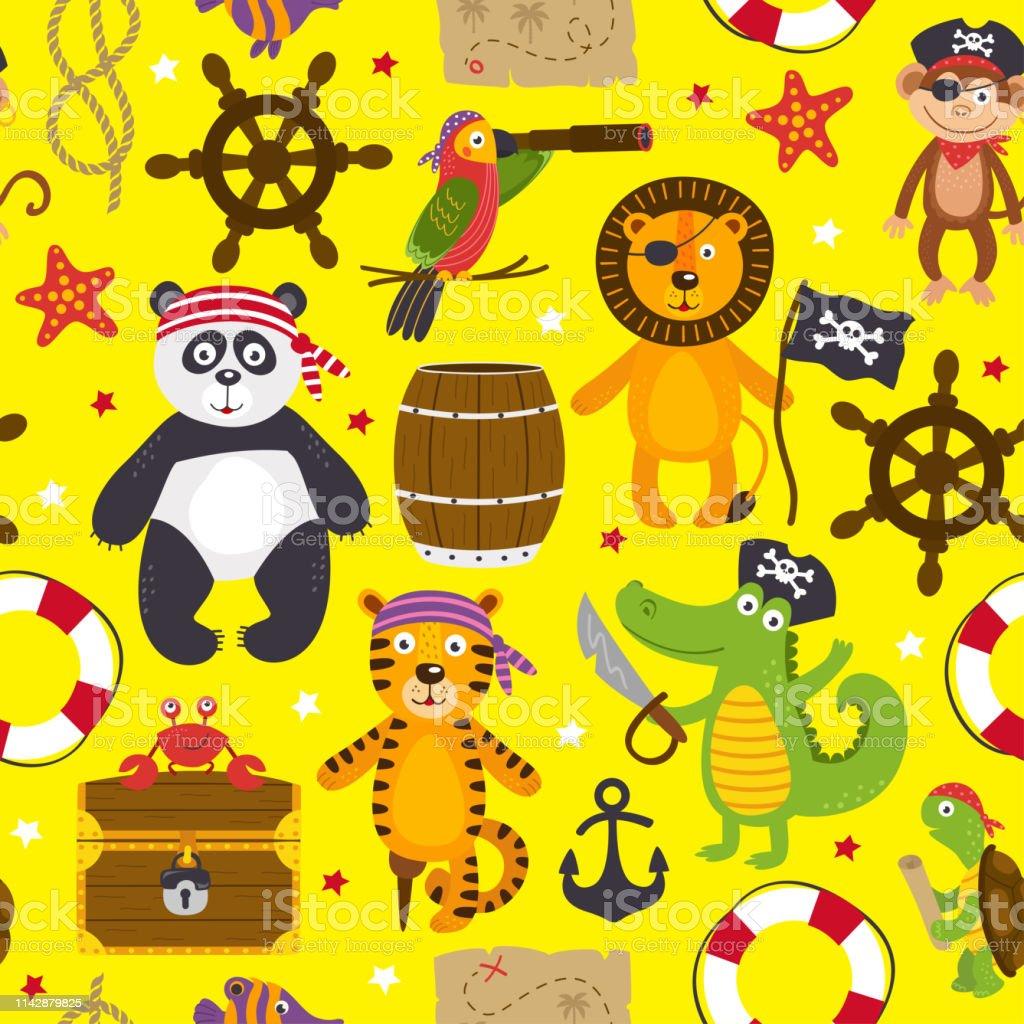patrón sin costuras con animales piratas sobre fondo amarillo - ilustración de arte vectorial
