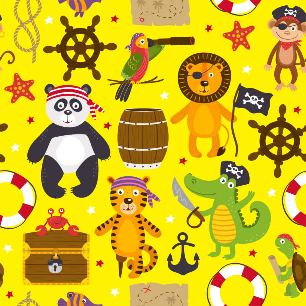 seamless pattern with pirates animals on yellow background - treasure map backgrounds stock illustrations
