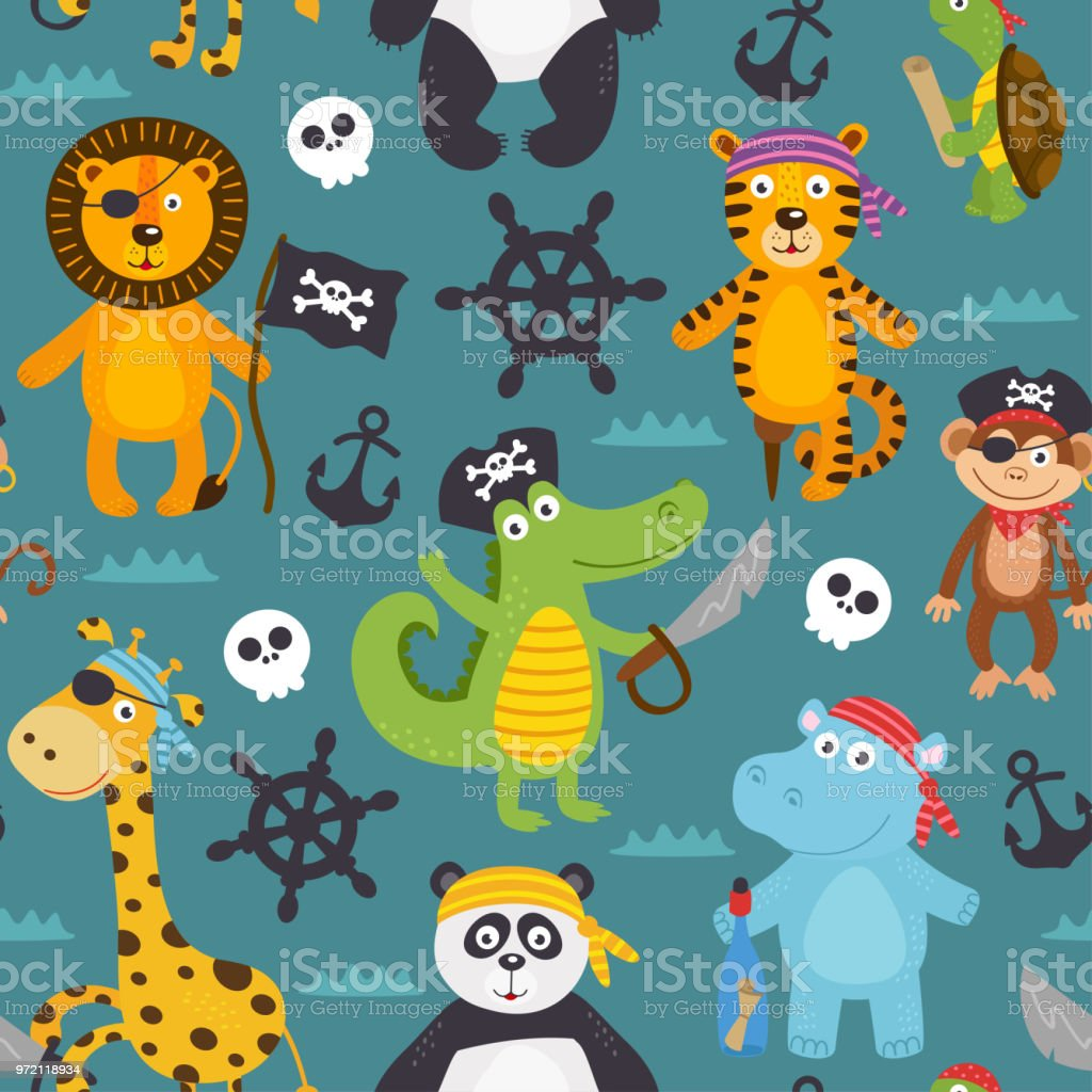 seamless pattern with pirates animals vector art illustration