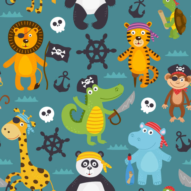 seamless pattern with pirates animals - treasure map backgrounds stock illustrations
