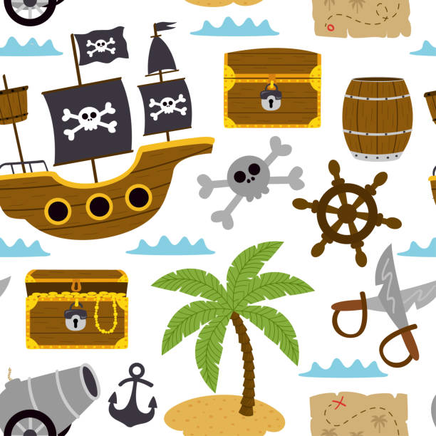 seamless pattern with pirates elements on white background - treasure map backgrounds stock illustrations