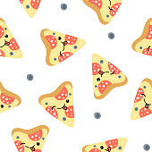 Seamless pattern with pizza on white background. Vector illustration
