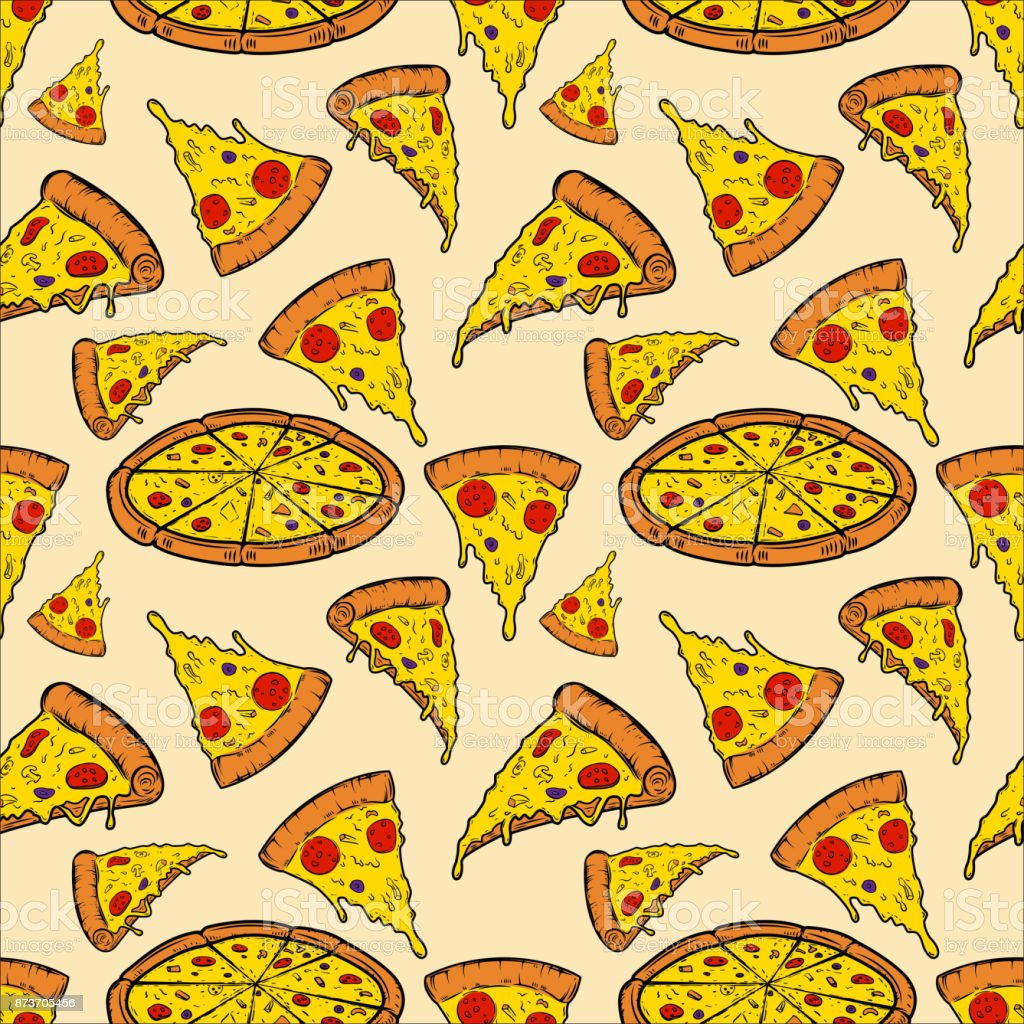 Seamless pattern with pizza. Vector illustration vector art illustration