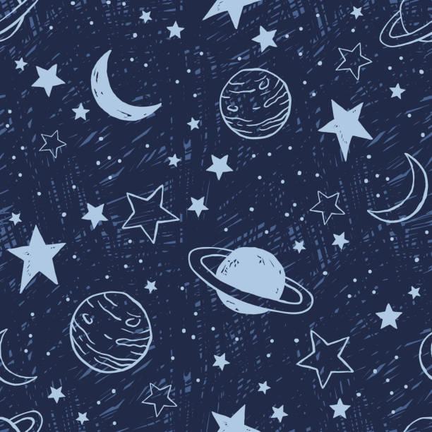ilustrações de stock, clip art, desenhos animados e ícones de seamless pattern with planets and stars - mapa das estrelas