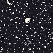 Seamless pattern with planets, constellations and stars