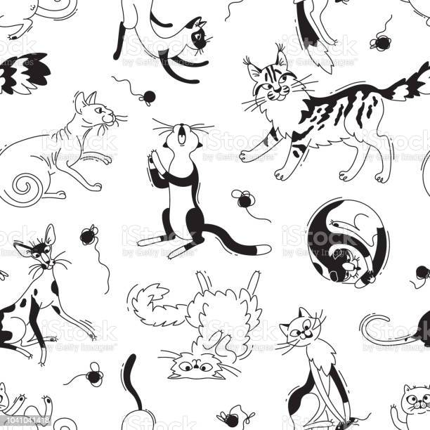 Seamless pattern with playing cats of different breeds and skeins of vector id1041041418?b=1&k=6&m=1041041418&s=612x612&h=3cm lqnn7jytlmw0rdyjisksrlsnf0trg88mt hy 0u=