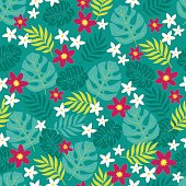 Seamless pattern with plumeria, palm leaves and tropical flowers