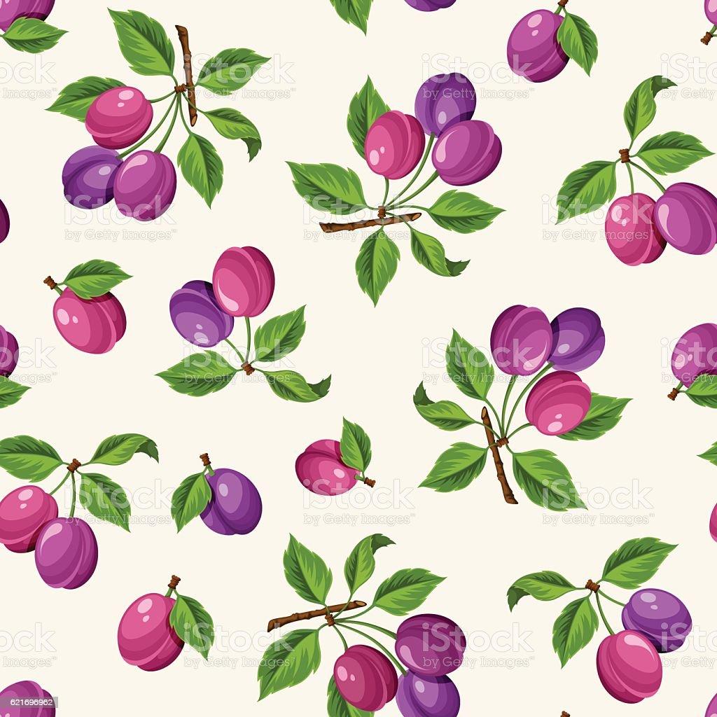 Seamless pattern with plums. Vector illustration. vector art illustration