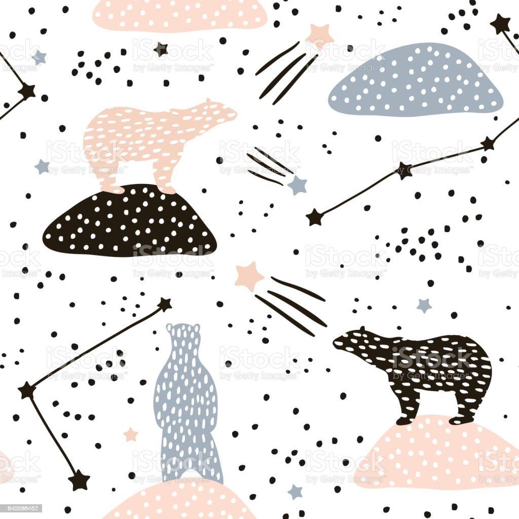 Patrón transparente con la silueta de los osos polares y las constelaciones. Perfecto para la tela, materia textil. Fondo de vector - ilustración de arte vectorial