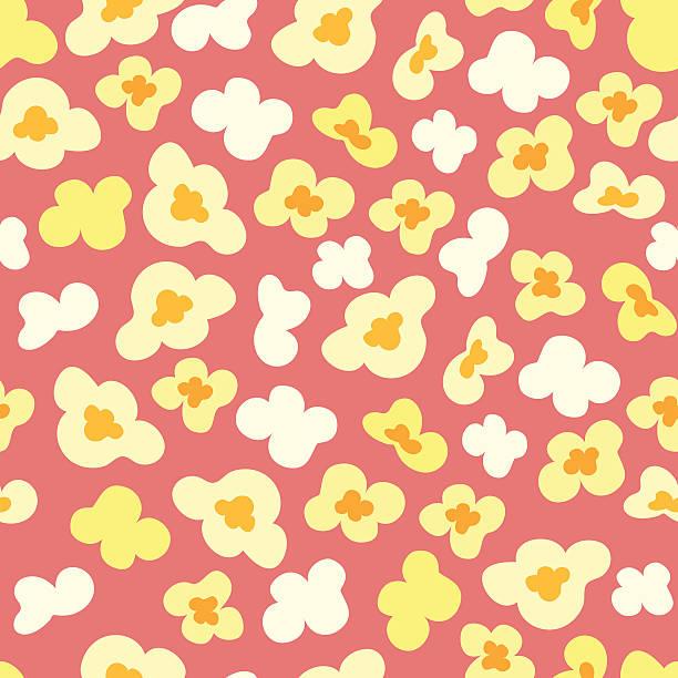 Seamless pattern with popcorn vector art illustration