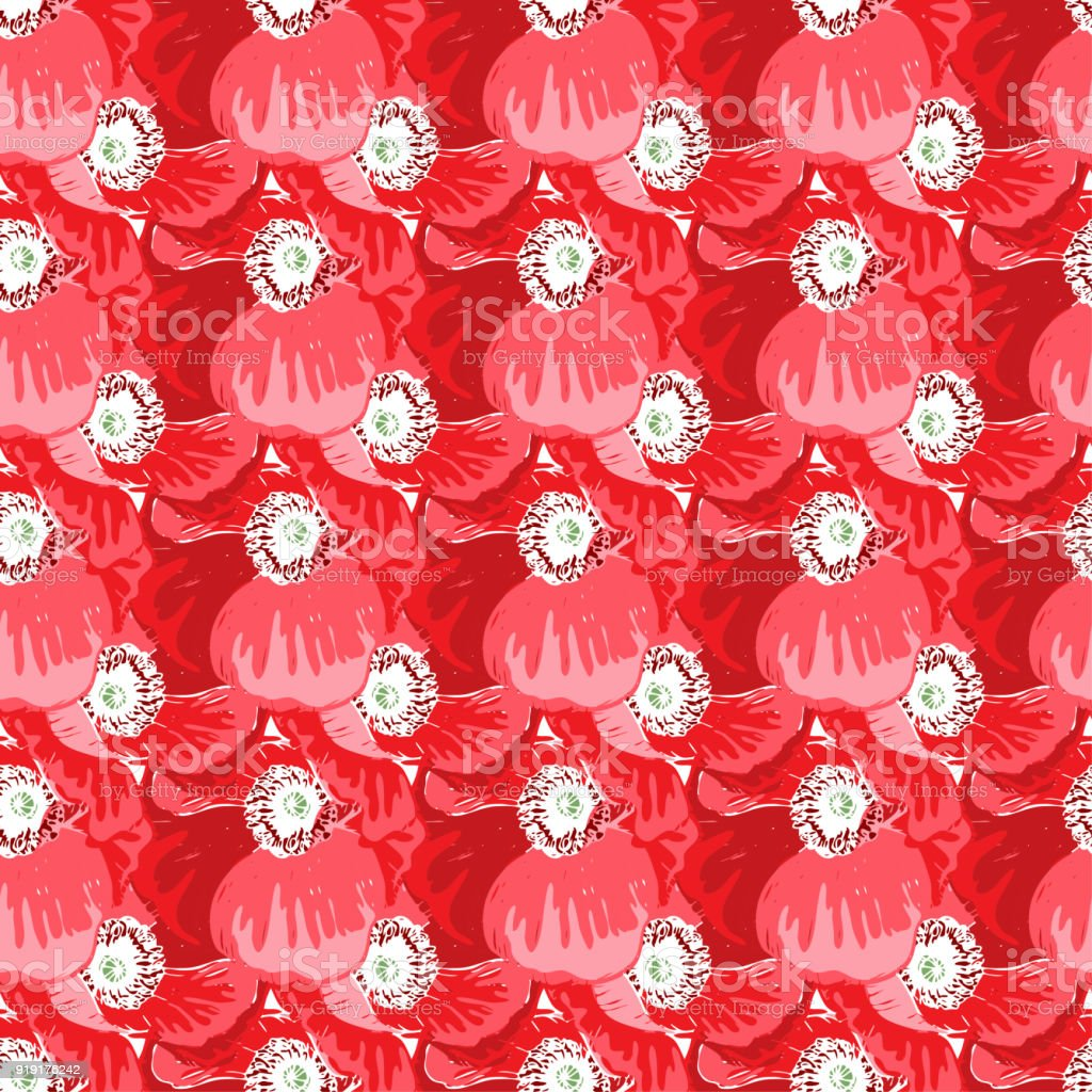 Seamless Pattern With Poppies Flower Vector Set Of Blooming Floral ...