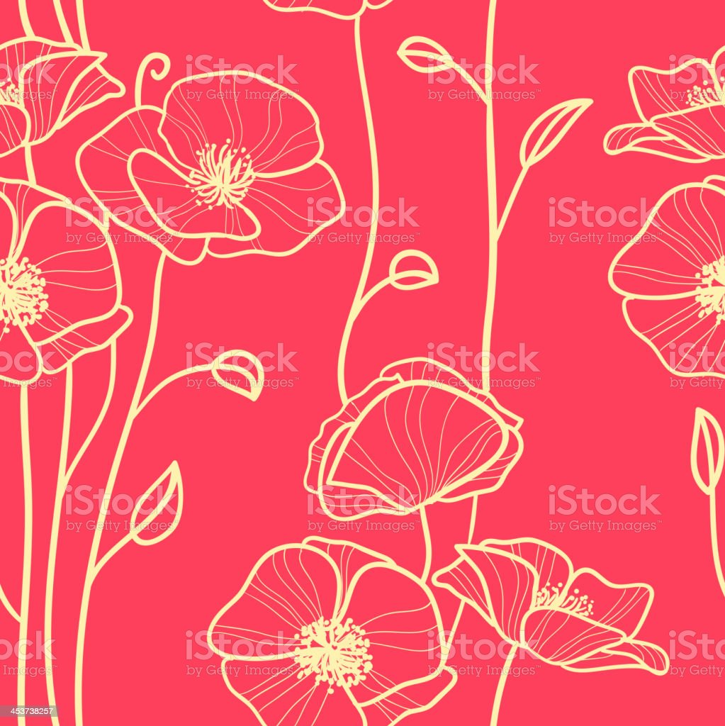 seamless pattern with poppies royalty-free stock vector art