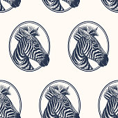 Seamless pattern with portrait of zebra.
