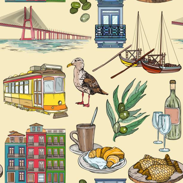 ilustrações de stock, clip art, desenhos animados e ícones de seamless pattern with portugal landmarks. - eletrico lisboa