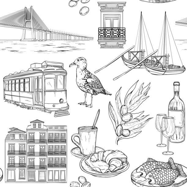 ilustrações de stock, clip art, desenhos animados e ícones de seamless pattern with portuguese sketches - eletrico lisboa