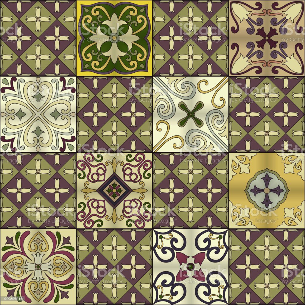 Seamless pattern with portuguese tiles in talavera style. Azulejo, moroccan, mexican ornaments. vector art illustration