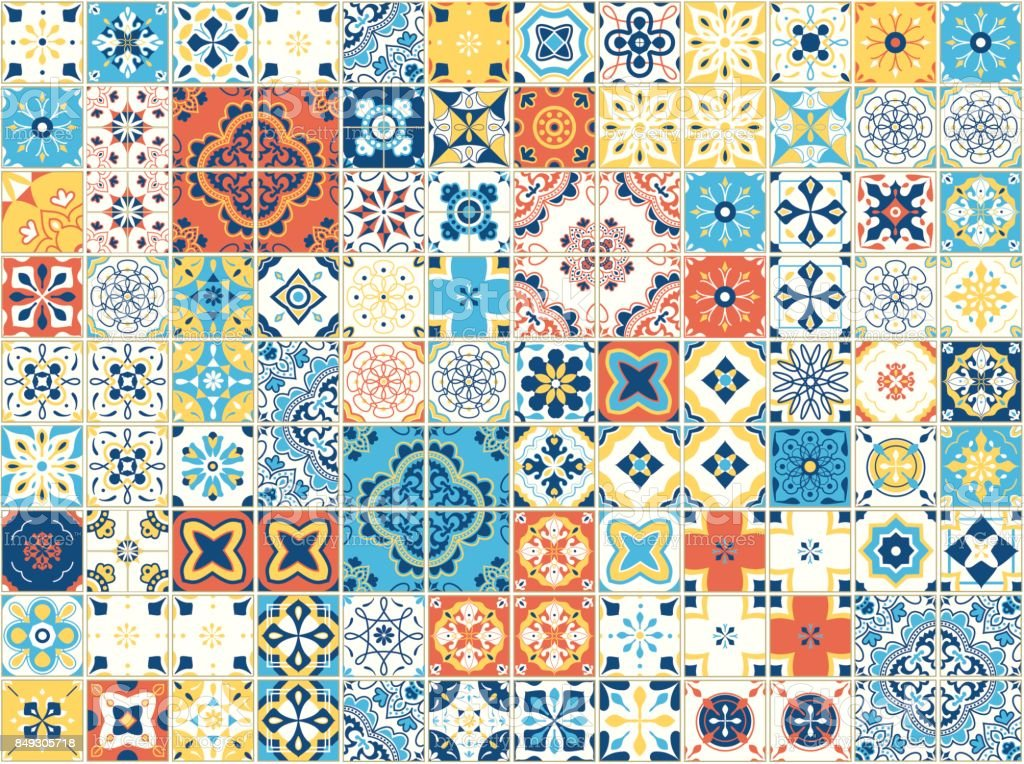 Seamless pattern with portuguese tiles. Vector illustration of Azulejo on white background. Mediterranean style. Multicolor design vector art illustration