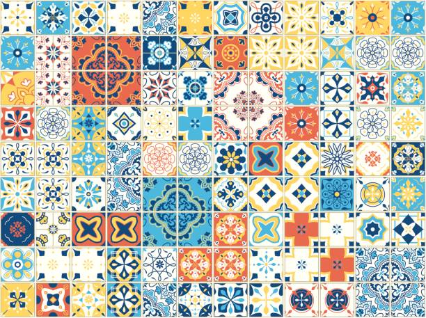 Seamless pattern with portuguese tiles. Vector illustration of Azulejo on white background. Mediterranean style. Multicolor design Seamless pattern with portuguese tiles. Vector illustration of Azulejo on white background. Mediterranean style. Multicolor design. morocco stock illustrations