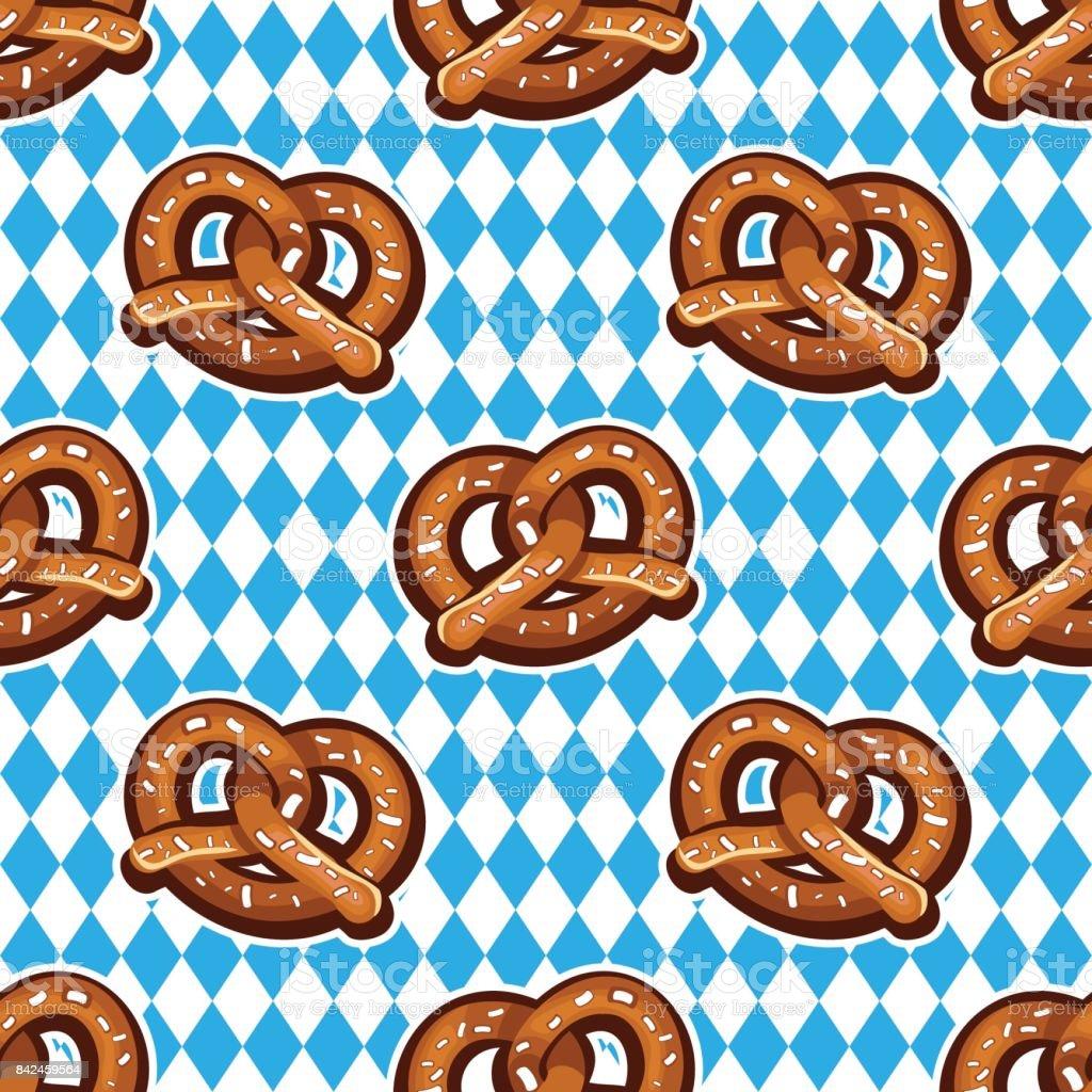 Seamless pattern with pretzels for Oktoberfest on Bavarian flag background. vector art illustration