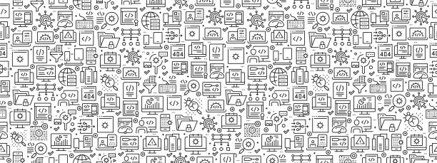 Seamless Pattern with Programming Icons Seamless Pattern with Programming Icons backgrounds icons stock illustrations
