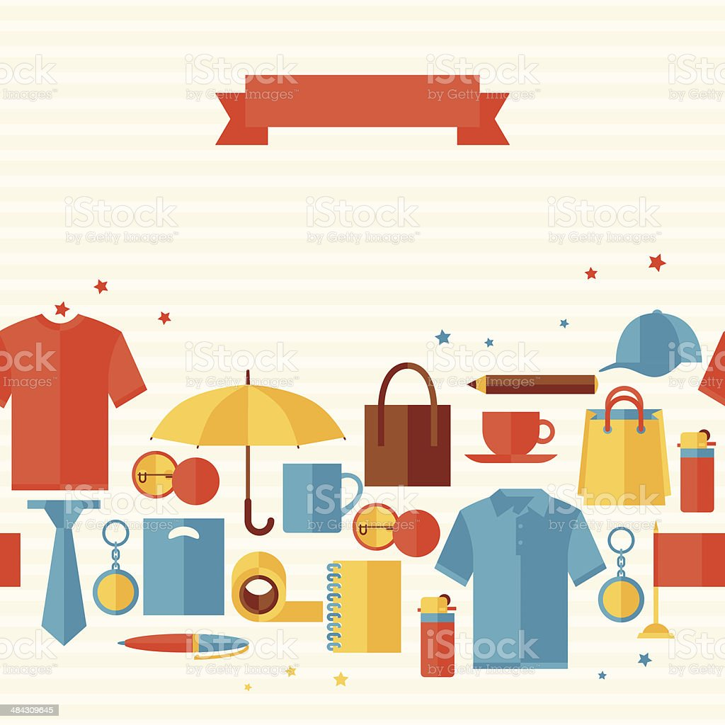 Seamless pattern with promotional gifts and souvenirs. vector art illustration