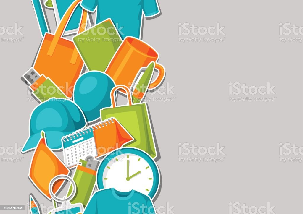 Seamless pattern with promotional gifts and souvenirs vector art illustration