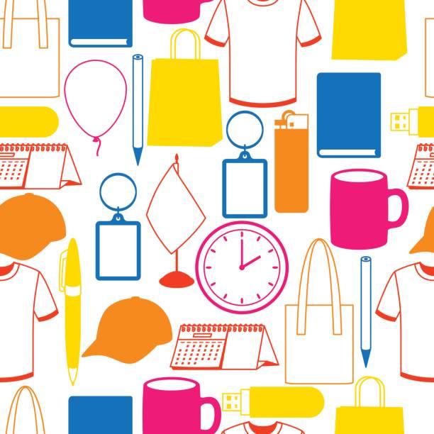 Nahtlose Muster mit fördernde Geschenke und souvenirs – Vektorgrafik