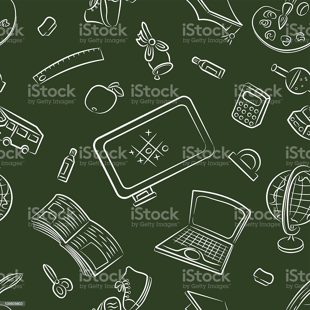 Seamless pattern with public school and graduation objects royalty-free stock vector art