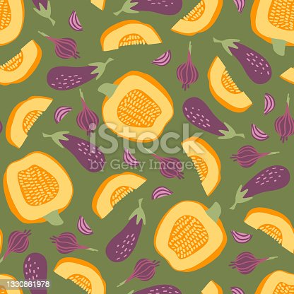 istock Seamless pattern with pumpkin, eggplant and onions on a green background 1330861978
