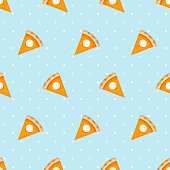 Seamless pattern with pumpkin pie slices. Vector illustration.