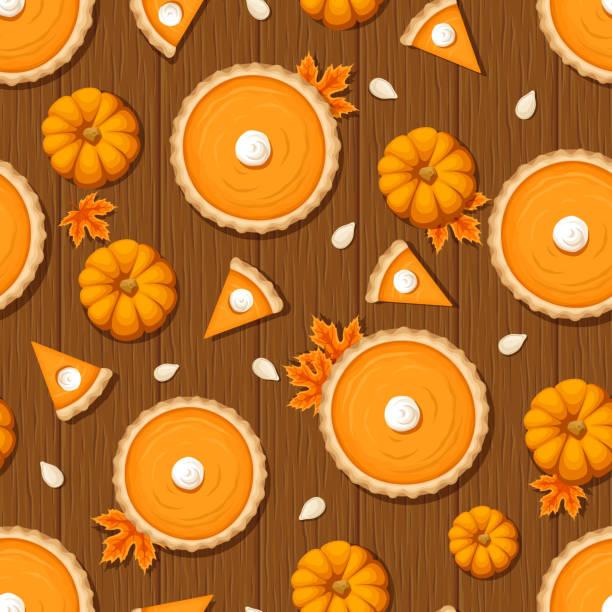 南瓜派和南瓜來做木制背景上的無縫模式。向量圖。 - pumpkin pie 幅插畫檔、美工圖案、卡通及圖標