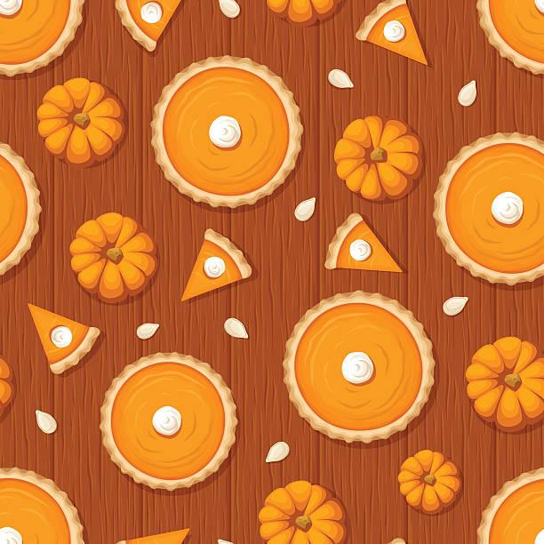 seamless pattern with pumpkin pies and pumpkins on wooden background. - pumpkin pie 幅插畫檔、美工圖案、卡通及圖標