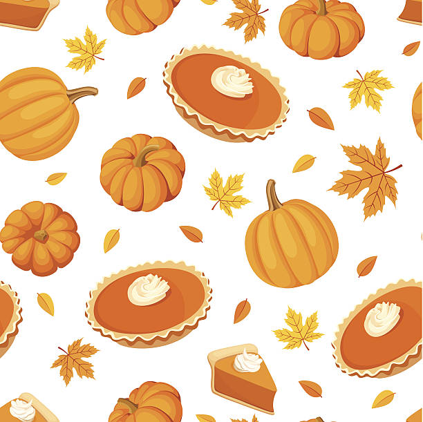 seamless pattern with pumpkin pies and pumpkins. vector illustration. - pumpkin pie 幅插畫檔、美工圖案、卡通及圖標