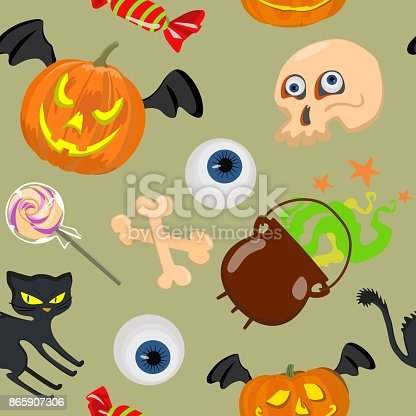 Seamless vector with bright pumpkins, black cat, skull and eyes, candy for a merry Halloween. Suitable as design for packaging paper, festive background, textiles.