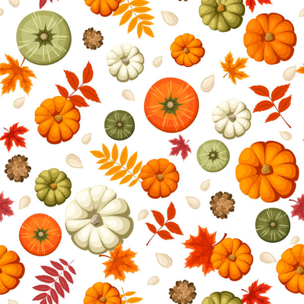 Nahtlose Muster mit Kürbisse und Herbst Blätter.  Vektor-illustration. – Vektorgrafik