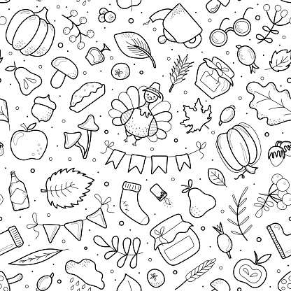 Seamless pattern with pumpkins, leaves, wheat, pear, apples, turkey, boot, sock. Coloring. Beautiful background for Thanksgiving. Harvest day. Vector illustration