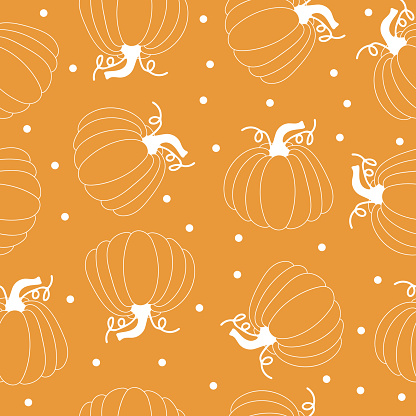 Seamless pattern with pumpkins on Thanksgiving or fall festival, halloween orang background. Vector flat illustration.